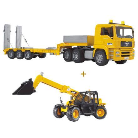 camion de transport man avec chargeur caterpillar