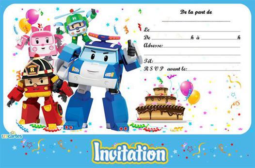carte anniversaire robocar poli