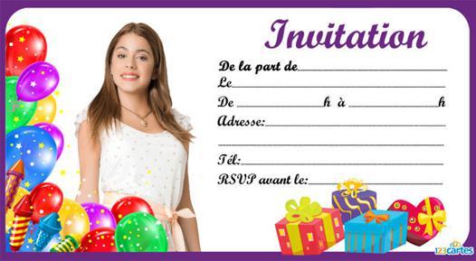 carte d invitation anniversaire violetta