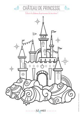chateau de princesse à colorier