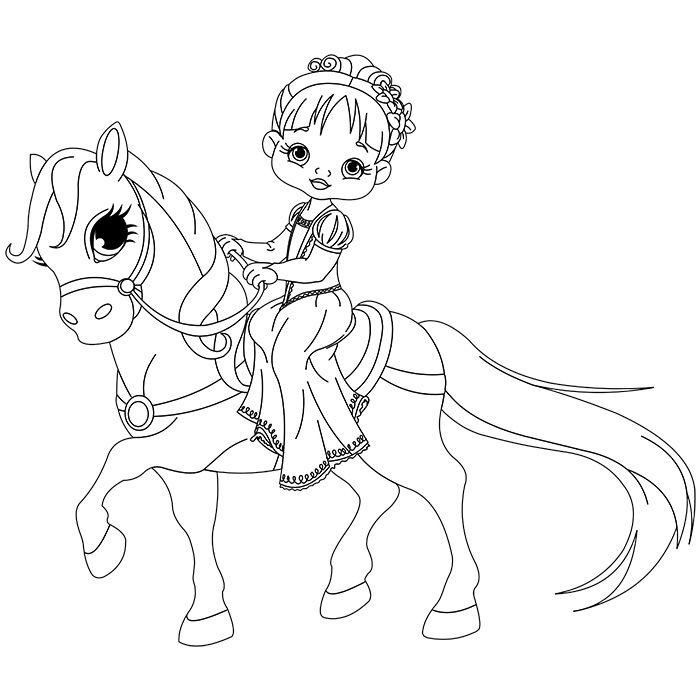 coloriage cheval princesse