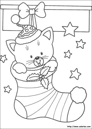 coloriage de chat de noel