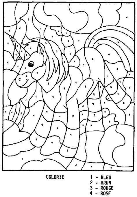 coloriage magique licorne