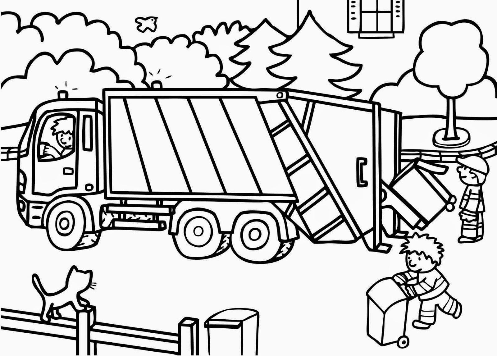 dessin camion poubelle