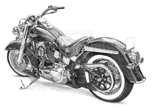 dessin moto custom