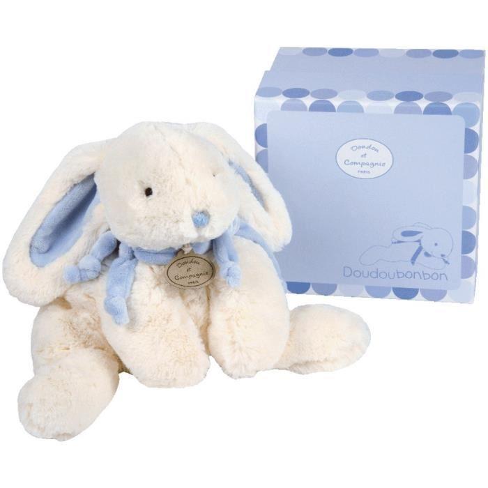 doudou et compagnie lapin bonbon bleu