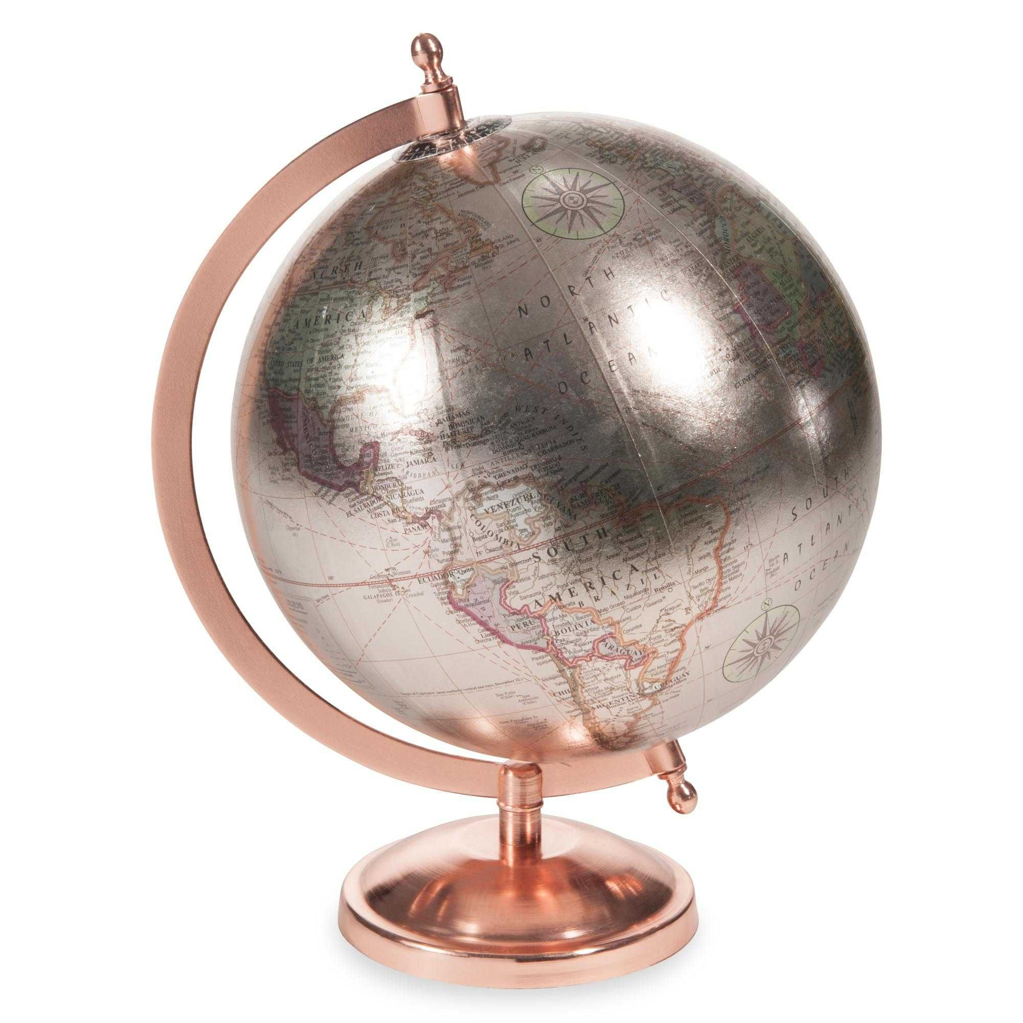 globe terrestre rose gold