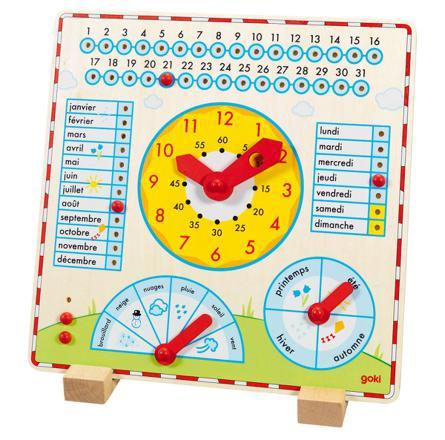 horloge calendrier en bois