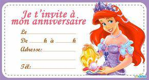 invitation anniversaire ariel