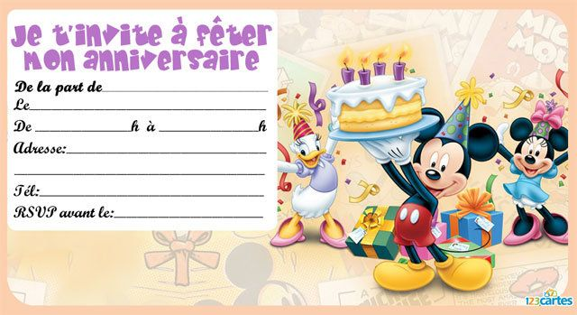invitation anniversaire mickey