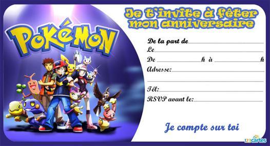 invitation anniversaire pokemon
