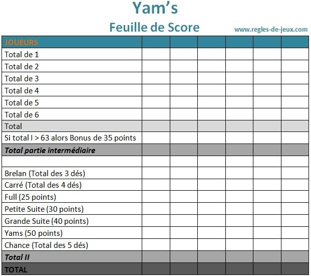 jeu du yam