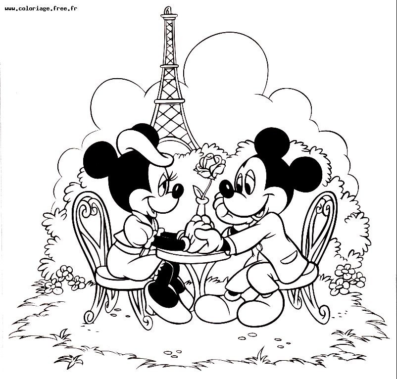 minnie et mickey coloriage