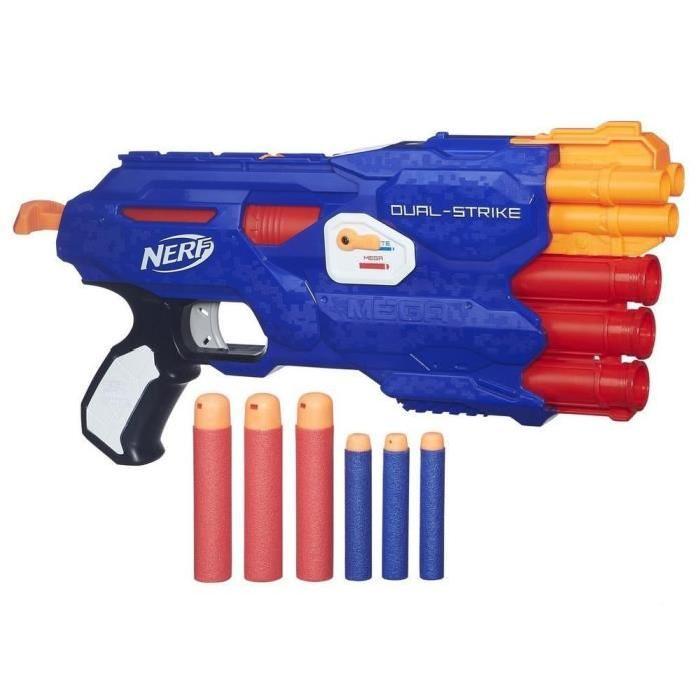 nerf elite pistolet dual strike 6 fléchettes
