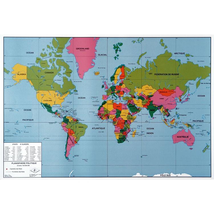 planisphère du monde complet