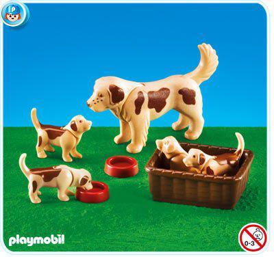 playmobil chien et 4 chiots