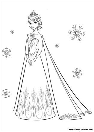 princesse des neiges coloriage