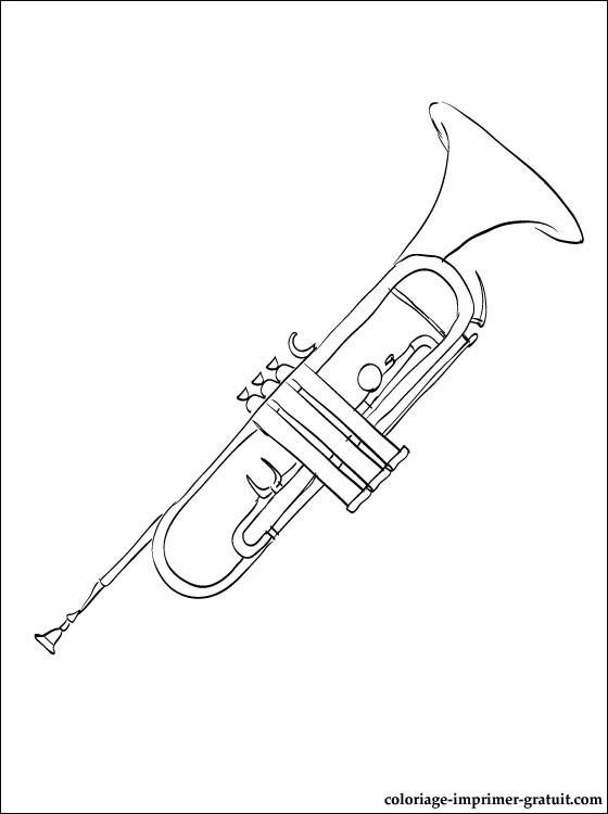 trompette à colorier